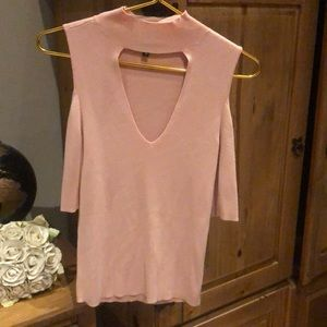 Mock neck open cut top